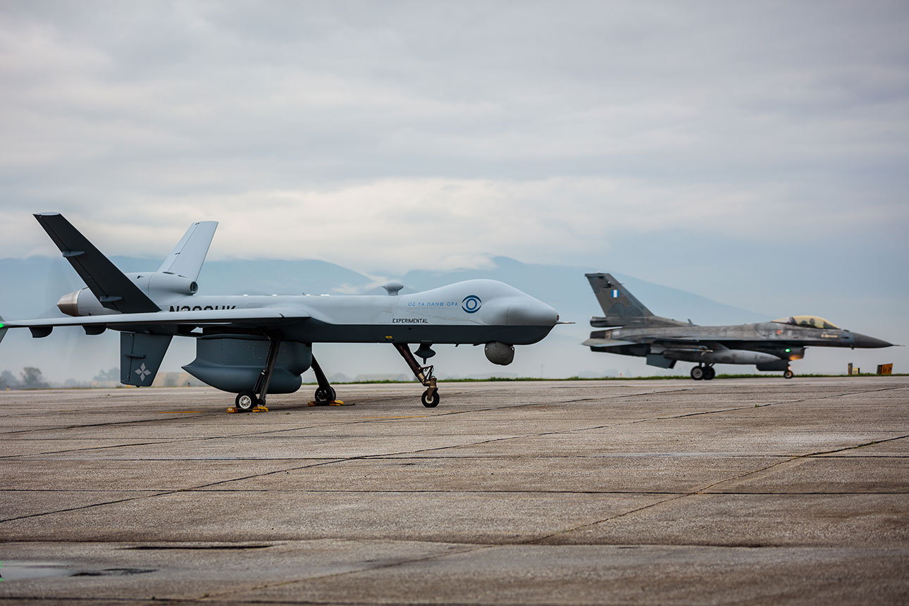 MQ-9 Guardian and a Hellenic Air Force F-16 Jet